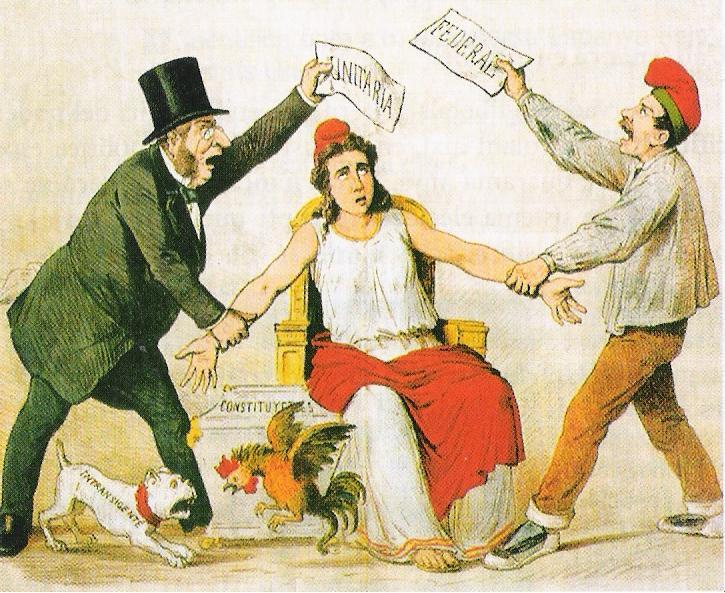 Caricatura de la revista satírica catalana 'La Flaca' del 3 de marzo de 1873 sobre la pugna entre los que defienden la república unitaria (representados por un burgués) y los que defienden la federal (representados por un menestral con la barretina catalana). WIKIPEDIA