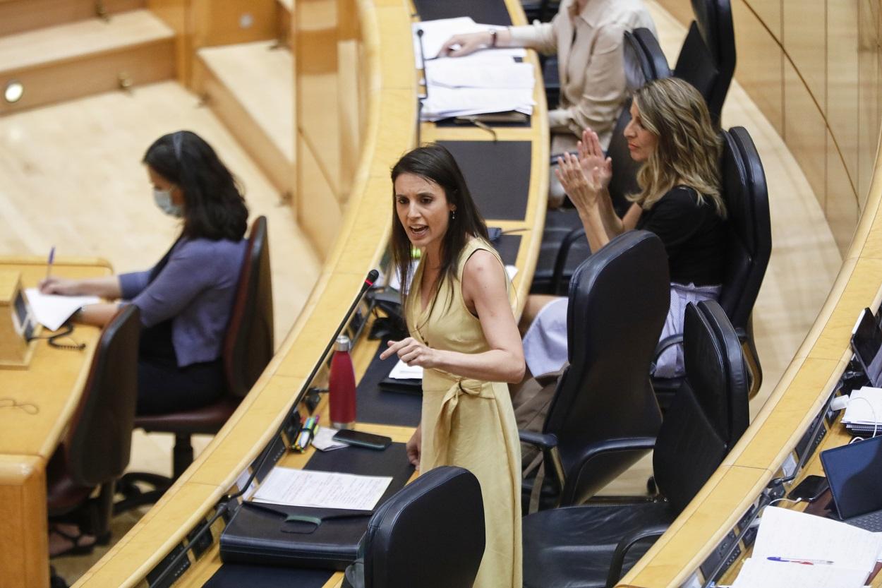 La Ministra de Igualdad, Irene Montero, durante su intervención en una sesión plenaria en el Senado. E.P./Jesús Hellín