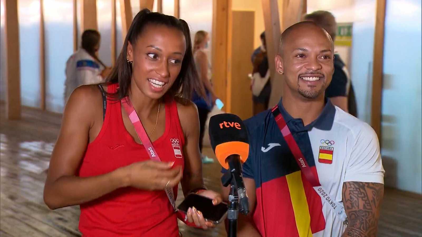 Los atletas españoles Ana Peleteiro y Ray Zapata, medallistas en los JJOO de Tokio. Foto: RTVE