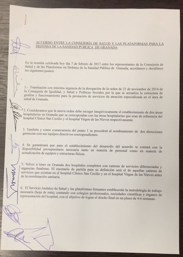 Imagen del documento de acuerdo entre la Consejería de Salud y las Plataformas para la defensa de la sanidad pública en Granada de fecha 07/02/17. Foto: María José Vílchez