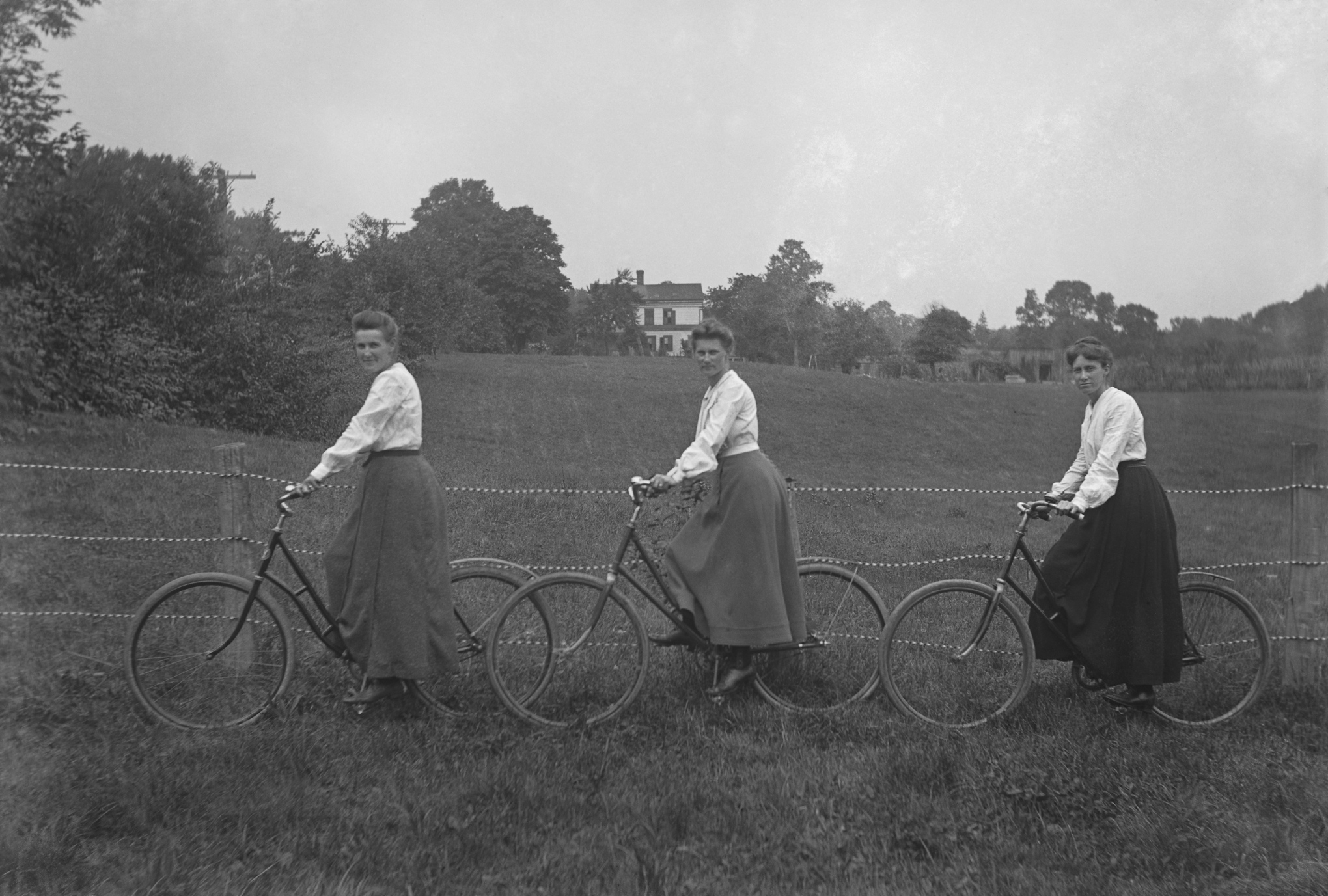 Three Women On Bicycles