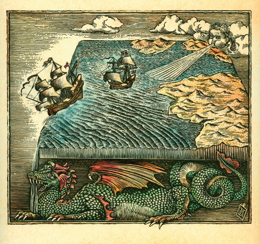 Fantasy map of a flat earth --- Image by © Antar Dayal/Illustration Works/Corbis
