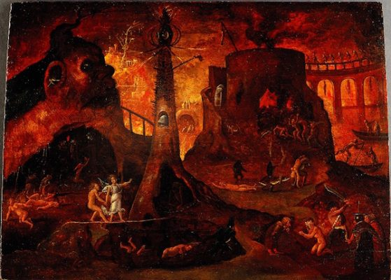 L0030887 An angel leading a soul into hell. Oil painting by a followe Credit: Wellcome Library, London. Wellcome Images images@wellcome.ac.uk http://wellcomeimages.org An angel leading a soul into hell. Oil painting by a follower of Hieronymus Bosch. Oil circa 1540 By: Hieronymus BoschPublished: - Copyrighted work available under Creative Commons Attribution only licence CC BY 4.0 http://creativecommons.org/licenses/by/4.0/