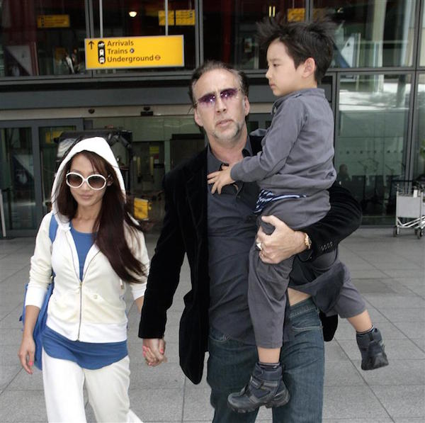 #7582261 Actor Nicolas Cage along with wife Alice Kim and son Kal-El arrived at Heathrow airport, London, England on July 11th, 2011. It's been a whirlwind for the star actor as son Weston and wife have reportedly entered rehab for their latest troubles. Restriction applies: USA ONLY Fame Pictures, Inc - Santa Monica, CA, USA - +1 (310) 395-0500
