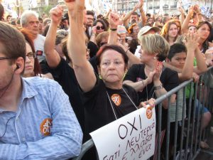 Campaña por el OXI. Atenas (Grecia)