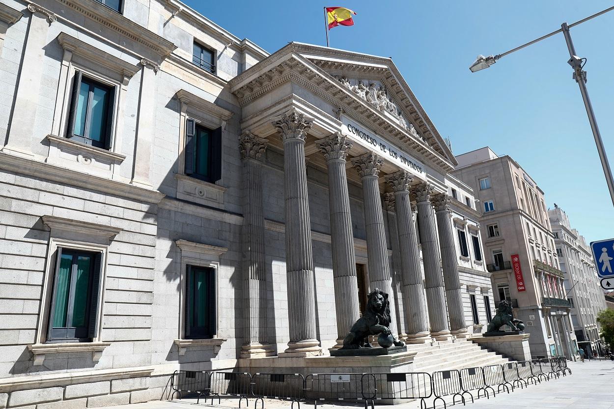 Fachada del Congreso de los Diputados en la Plaza de las Cortes de Madrid. E.P./Óscar J.Barroso