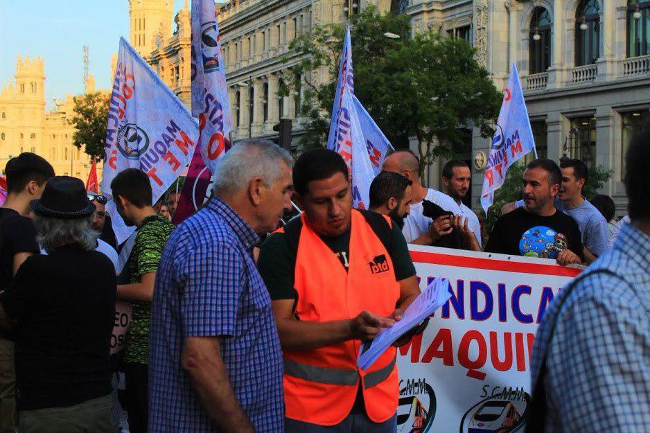 Manifestación por la defensa del transporte público en Madrid.