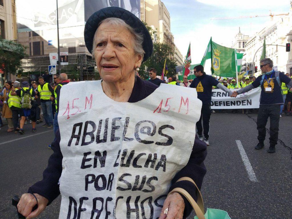 Manifestación pensionistas convocada por la COESPE el 16O en Madrid. Foto Jon Imanol Reino / #404 Comunicación Popular